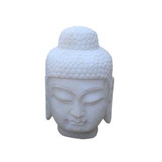 Chinese Oriental White Marble Stone Carved Buddha Head Figure For Sale