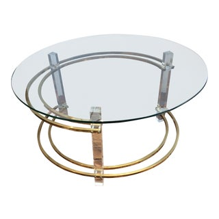 Mid-Century Modern Lucite and Brass Round Coffee Table