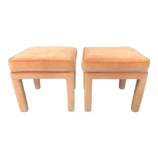 Mid-Century Modern Upholstered Parsons Stools- a Pair For Sale