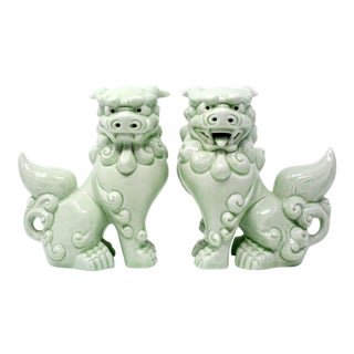 Vintage Celadon Foo Lions - a Pair For Sale