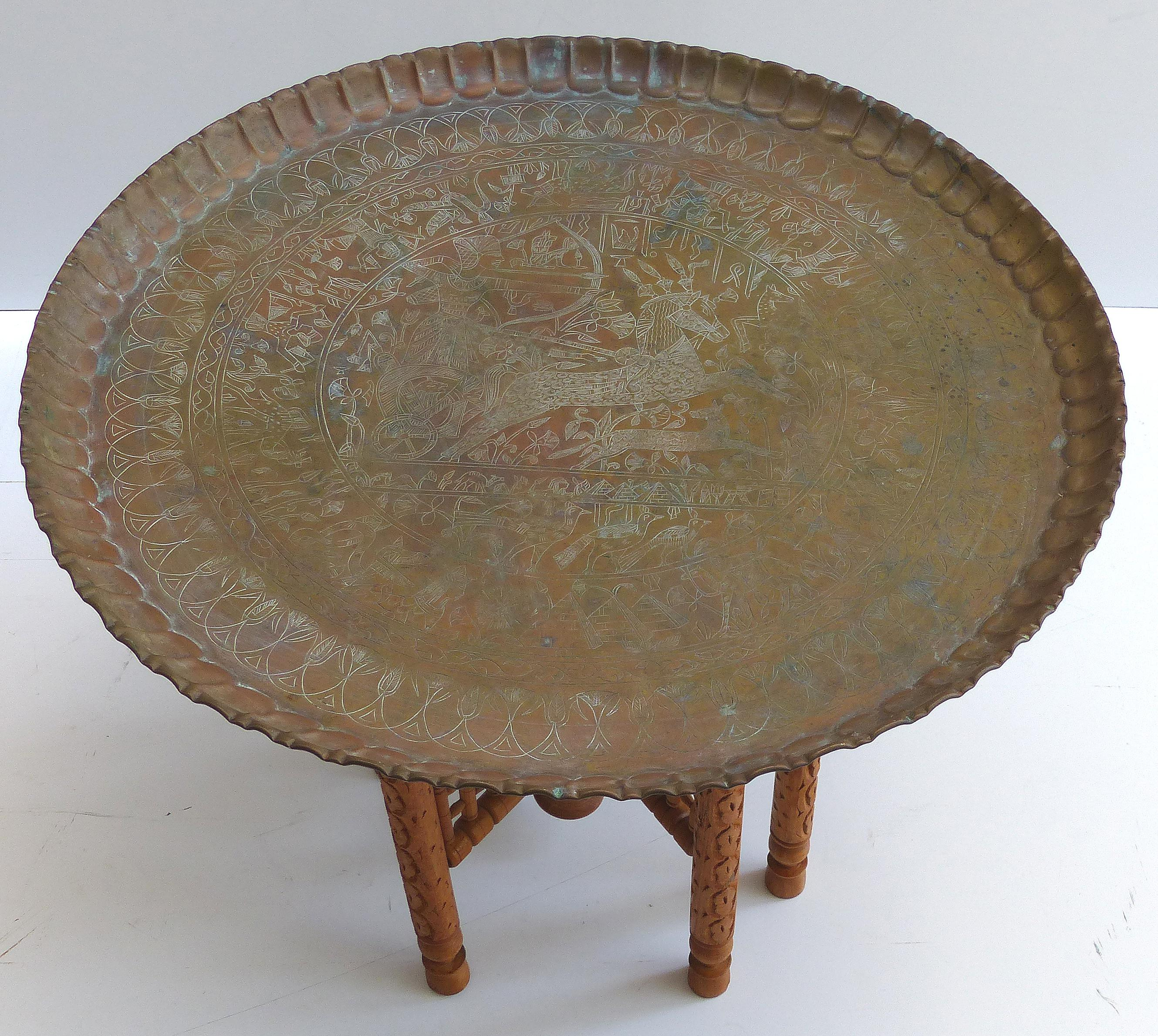 Vintage Moroccan Brass Tray Table On Stand   Image 3 Of 10