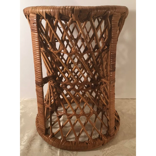 Vintage Mid-Century Modern Wicker Stool or Plant Stand For Sale - Image 4 of 8