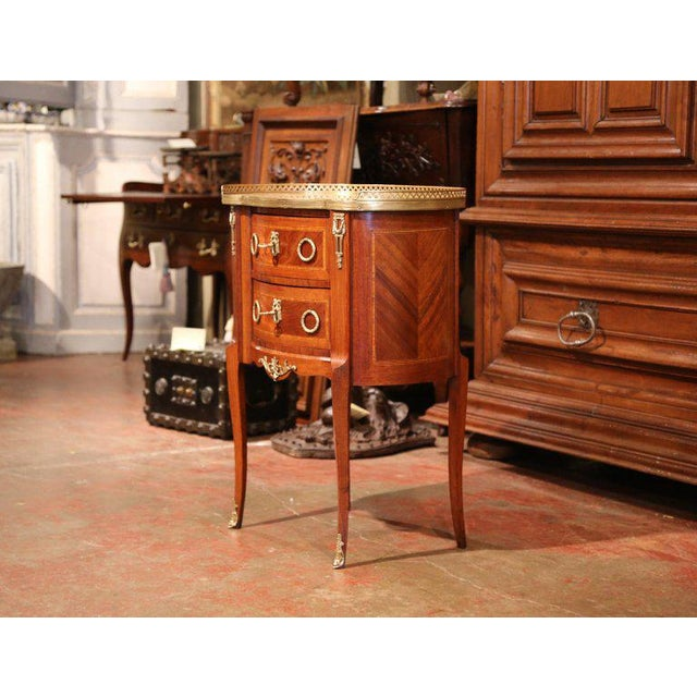 Bronze 19th Century French Louis XV Walnut Commode Nightstand Chest With Marble Top For Sale - Image 7 of 10