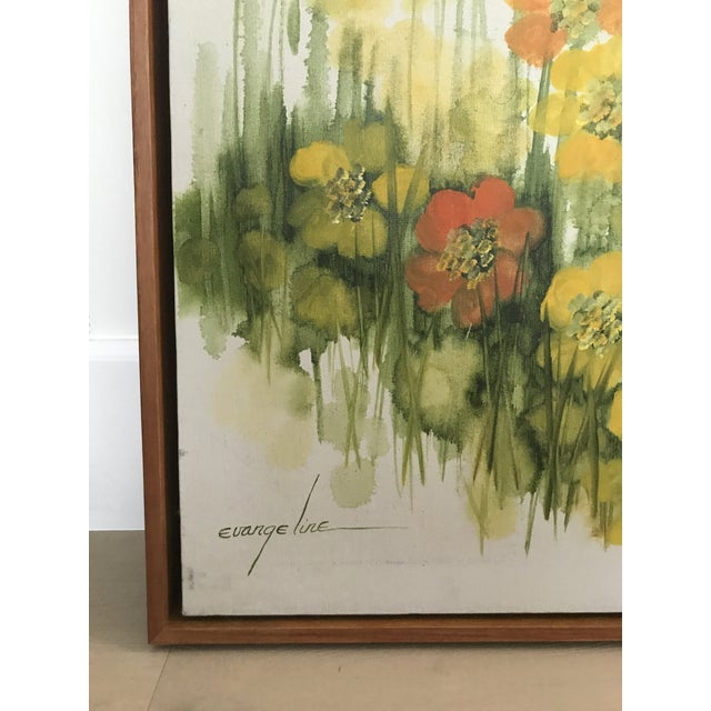 Vintage Mid-Century Large Floral Oil Painting For Sale - Image 4 of 8