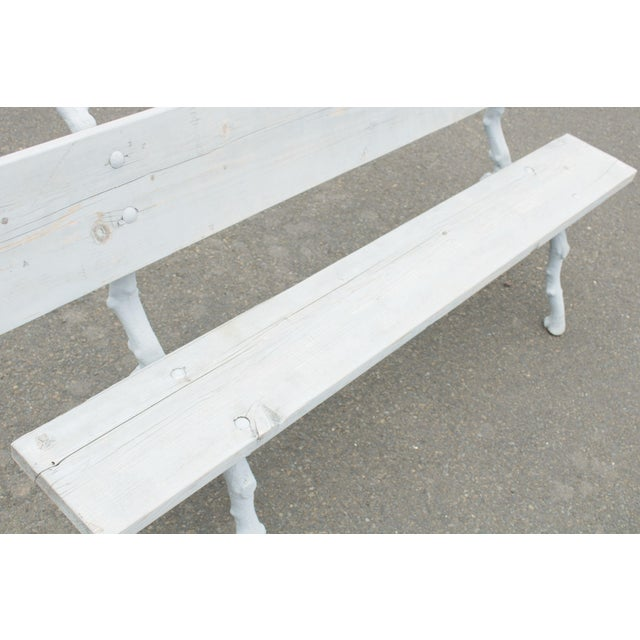 Quality Cast Iron Faux Bois Garden Park Bench For Sale - Image 9 of 13