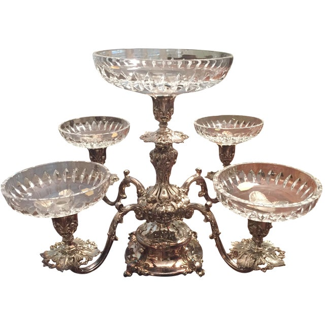 Reed & Barton Silver-Plate Epergne Crystal Liners - Image 1 of 7