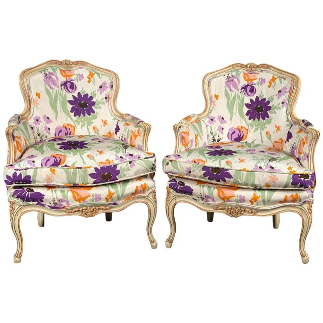1970s Vintage French Bergere With Woodson Style Fabric- a Pair For Sale
