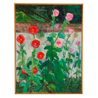 "Grace B. Keogh ""Hollyhocks"" Painting For Sale"