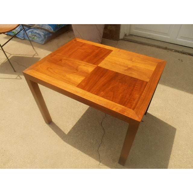 """Vintage, Mid-Century Modern-style """"Alta Vista"""" side table by Lane. Constructed of teak, with a parquet top. I believe this..."""