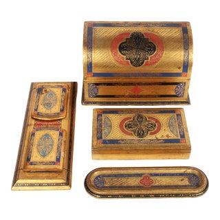 Vintage Florentine Desk Set - 4 Pieces For Sale
