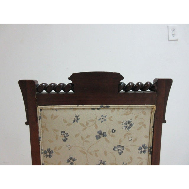 Antique Victorian Carved Walnut Lounge Chair For Sale In Philadelphia - Image 6 of 10