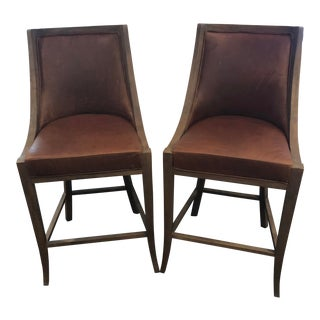 Restoration Hardware French Empire Leather Stools - Pair For Sale