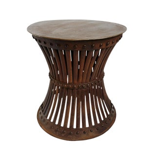 Iron Rivet Hourglass Stool Table For Sale