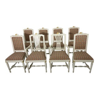 Gustavian Swedish Dining Chairs - Set of 8 For Sale