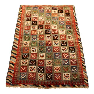 Hand Knotted Mint Authentic Persian Veg Dye Shiraz Gabeh Tribal Rug - 3'2 X 4'7 For Sale