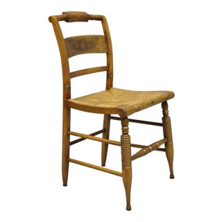 Vintage L. Hitchcock Rush Seat Maple Wood Side Chair For Sale