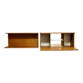 Mid Century Modern Tapley Teak Wall Mounted Floating Shelf & Bar Cabinet 1970s - a Pair For Sale
