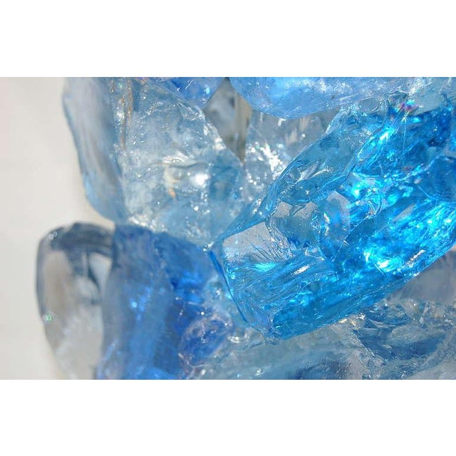 Glass Rock Table Lamps by Swank Lighting Blue Crystal - a Pair For Sale - Image 10 of 10