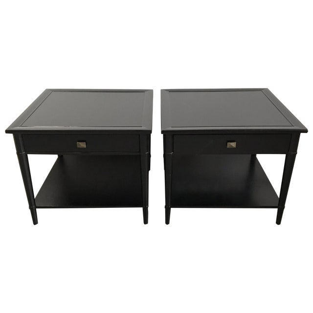 Henredon Black Lacquered Nightstands - A Pair - Image 1 of 5