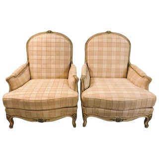 Pair of Paint Decorated Louis XV Style Bergeres Chairs For Sale