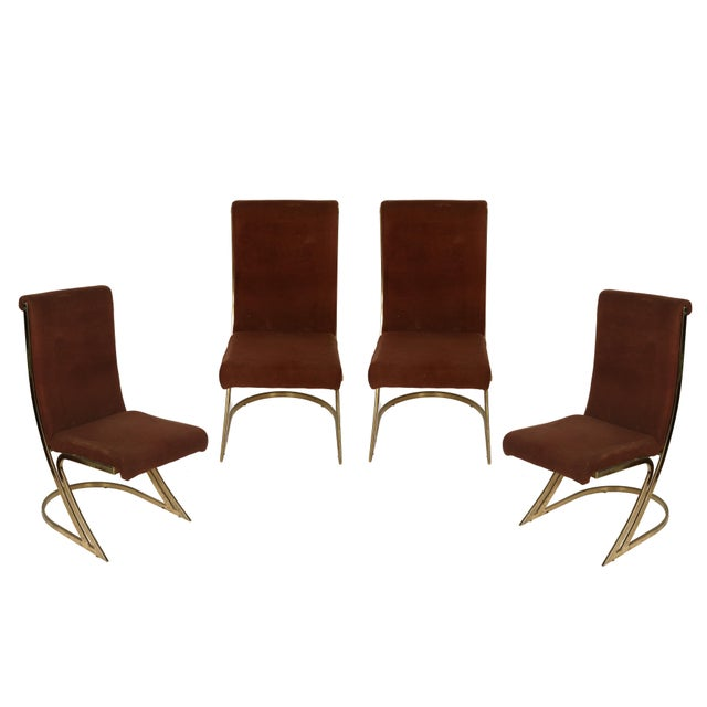 Liberty & Co. Mid-Century Brass Side Chairs- Set of 4 For Sale - Image 4 of 4