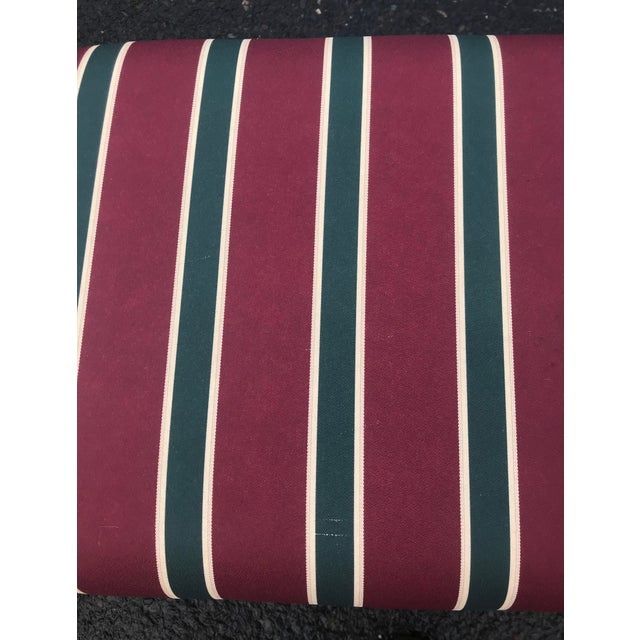1980s Striped Upholstered Waterfall Benches -A Pair - Image 6 of 8