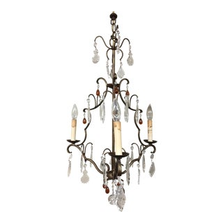 Currey & Company Iron Crystal Chandelier For Sale