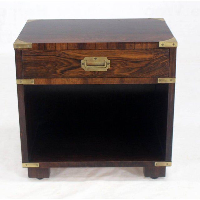 Gold Rosewood Brass Campaign End Table Nighstand Cabinet John Stuart For Sale - Image 8 of 8