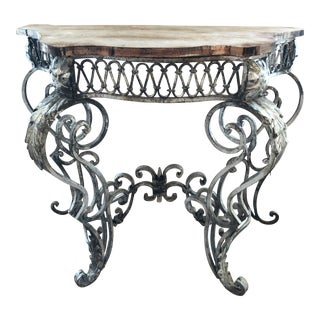 Shabby Chic Silver Leaf Iron Console Table For Sale
