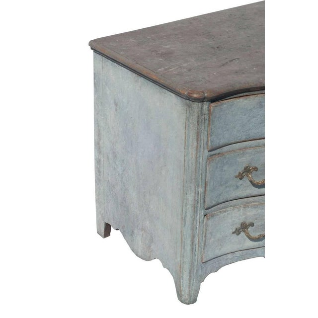 Blue painted Swedish Rococo commode.