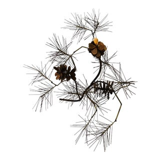 C. Jere Mid-Century Modern Metal Pine Cone Sculptural Wall Art For Sale