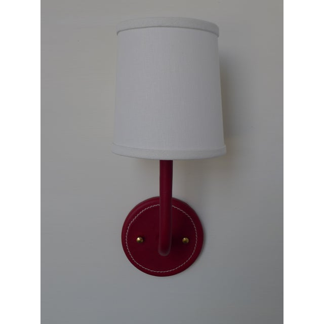Paul Marra Paul Marra Top-Stitched Leather Wrapped Sconce in Red For Sale - Image 4 of 7