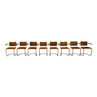 Mid-Century Modern Breuer Style Cantilevered Chairs- Set of 8 For Sale