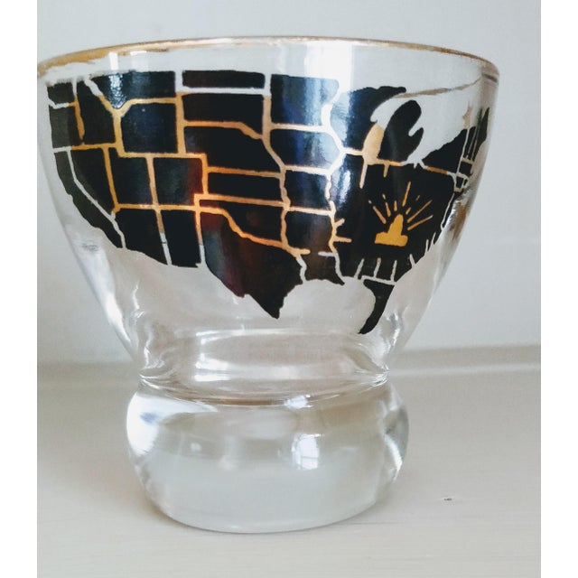 Vintage Barware Capital Map Lowball Glasses - Set of 4 For Sale - Image 4 of 8