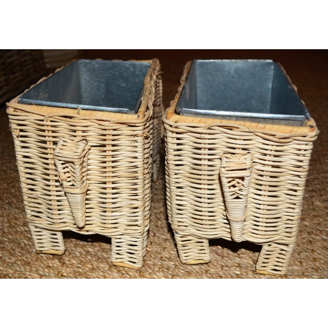 Wicker Boho Chic Wicker Elephant Basket Planters - a Pair For Sale - Image 7 of 12