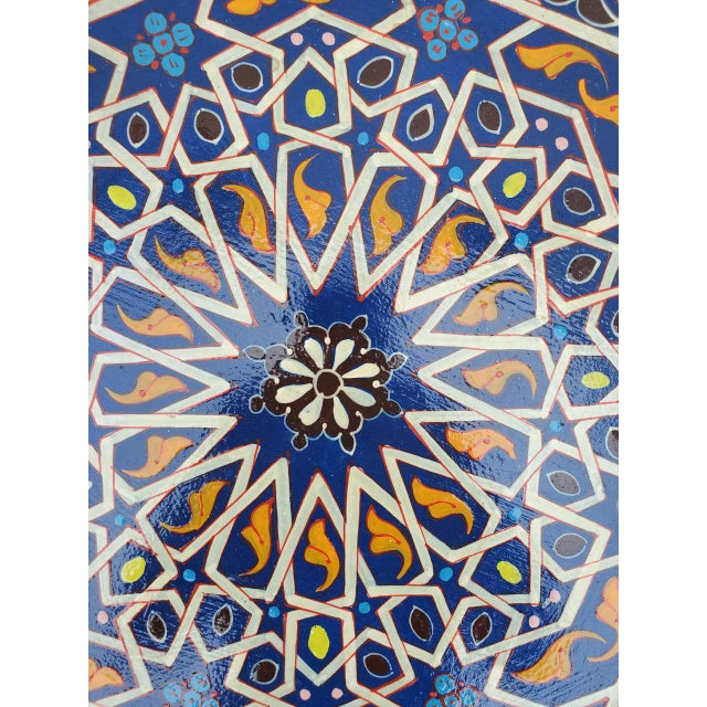2010s Moroccan Lg Ceuta 5 Painted and Carved Star Table, Multi-Color For Sale - Image 5 of 8