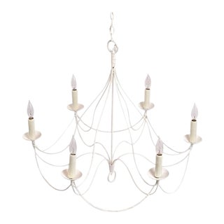 French Late 19th Century Provencal Painted Iron Chandlier For Sale
