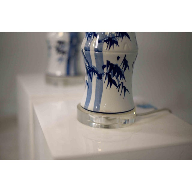 2010s Contemporary Chinoiserie Blue and White Bamboo Motif Table Lamps - a Pair For Sale - Image 5 of 9