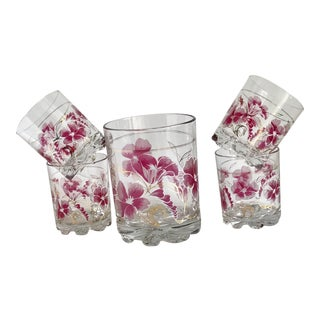 1990s Boho Chic Pink Floral Cocktail Glasses and Vase - Set of 5 For Sale