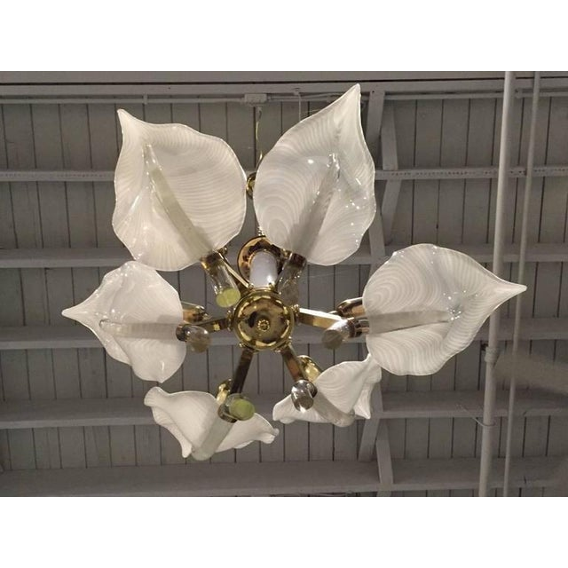 Italian Franco Luce Italian Murano Mid Century Floral Chandelier For Sale - Image 3 of 5