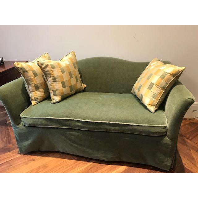 Custom green mohair loveseat from Brunschwig & Fils. Perfect for a modern home.