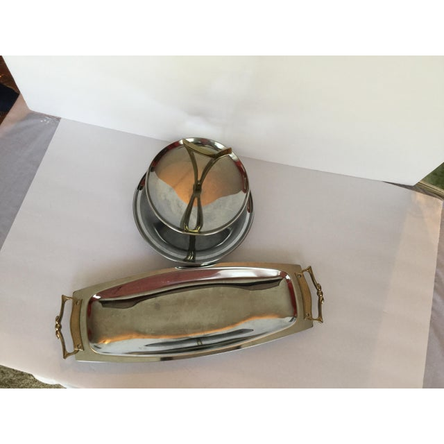 1960s Space Age Brass Serving Trays - Set of 2 For Sale - Image 9 of 13