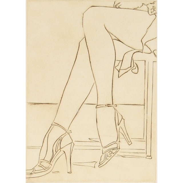 Vintage 1960s Etching by H. Albert For Sale