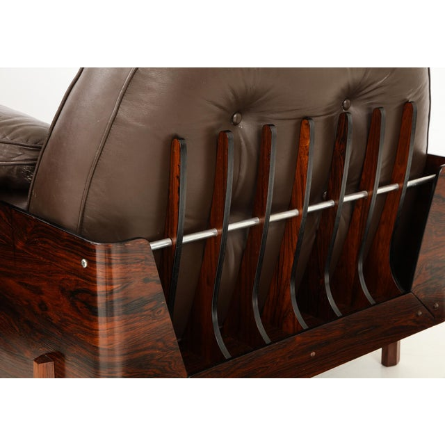 1960s Brazilian Lounge Chair in Jacaranda and Brown Leather For Sale - Image 5 of 9