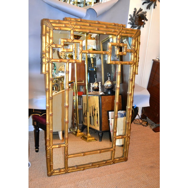 Hollywood Regency Golden Faux Bamboo Greek Key Wall Mirror For Sale - Image 13 of 13