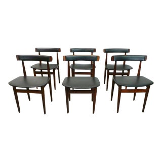 Frem Rojle Mid Century Danish Modern Rosewood Black Vinyl Nesting Dining Chairs - Set of 6