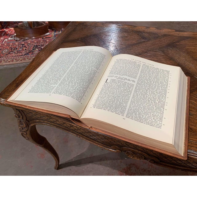 Mid-Century French Leather Bound Two-Volume Holy Bible Dated 1953 - Set of 2 For Sale - Image 9 of 13