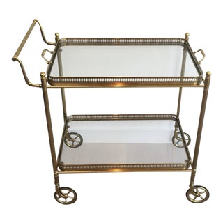 French Neoclassical Brass Bar Cart Attributed to Maison Jansen