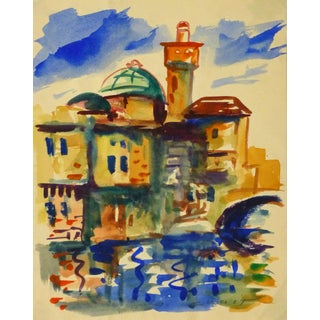 Thelma Chait, Mid-Century Townscape Watercolor For Sale