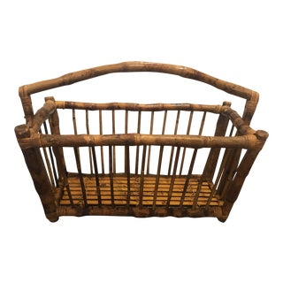 Mid Century Tortoise Burnt Bentwood Rattan Magazine Rack/Basket For Sale